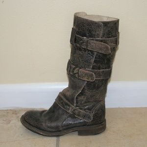 Steve Madden Buck Crackled Leather Motorcycle Boot